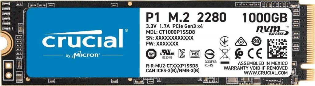 Crucial P1 1TB 3D NAND NVMe PCIe Internal SSD