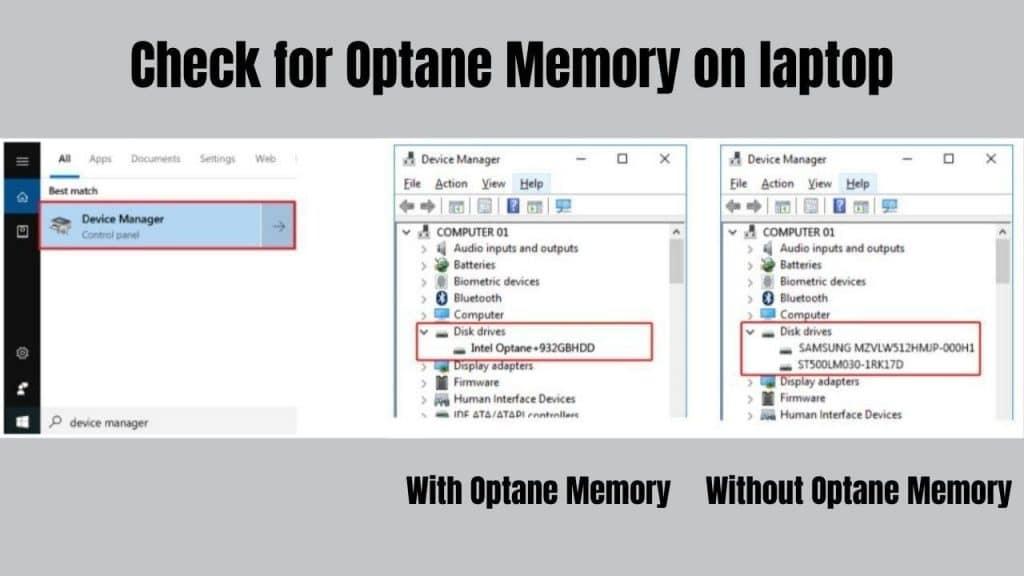 Check Optane Memory on Laptop