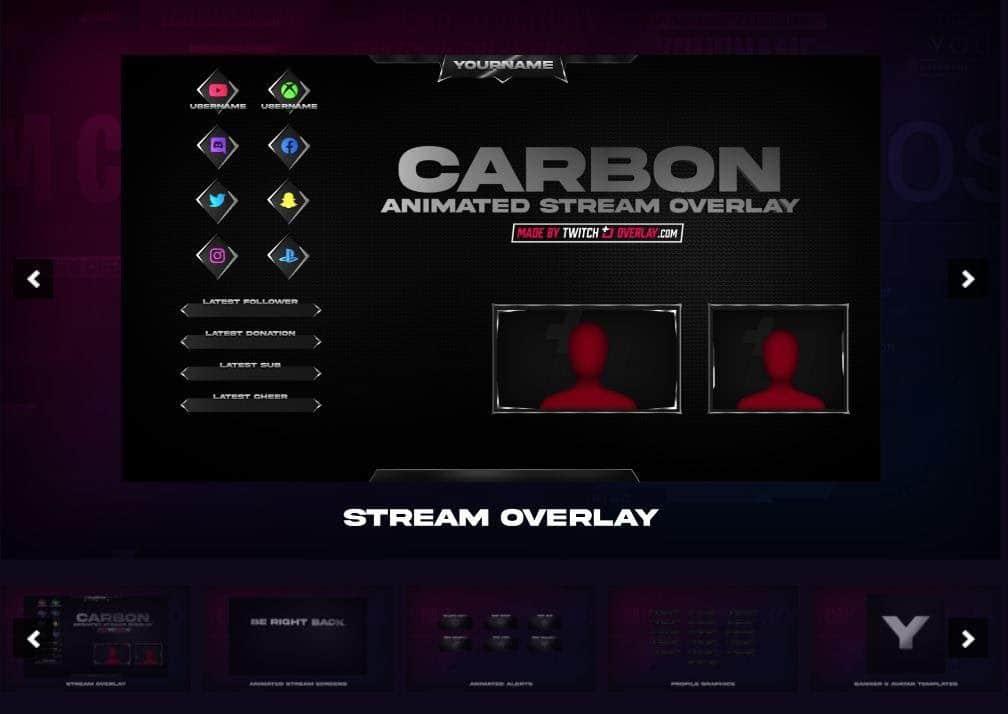 Carbon Dark theme by Twitch Overlay