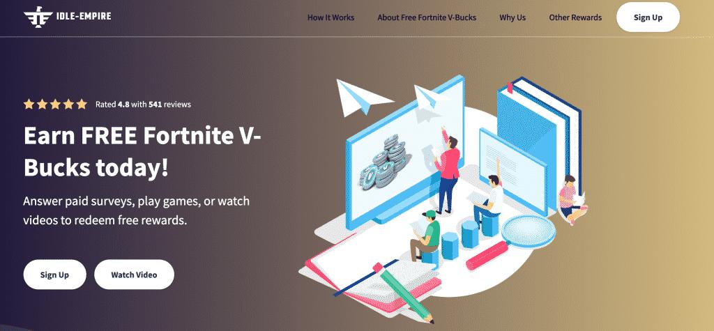 IDLE-EMPIRE earn free Fortnite v-bucks