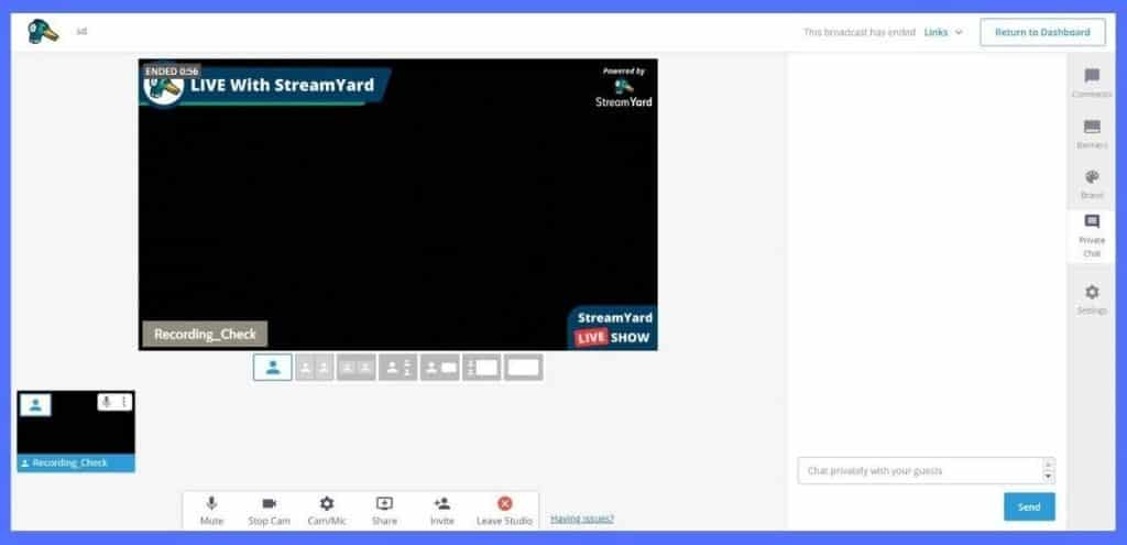 streamyard private chat