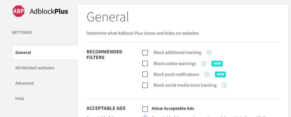 AdBlock  General option