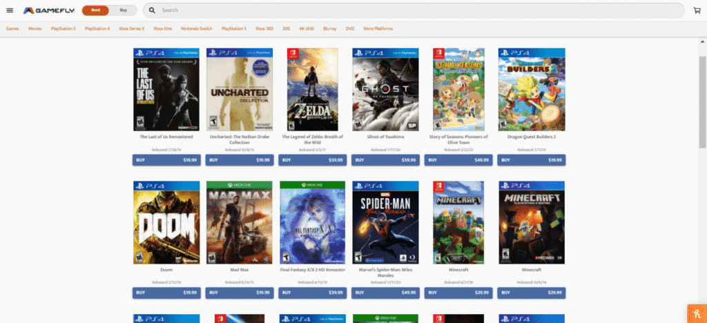 GameFly Games Catalogue