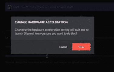 Click on Okay the restart Discord