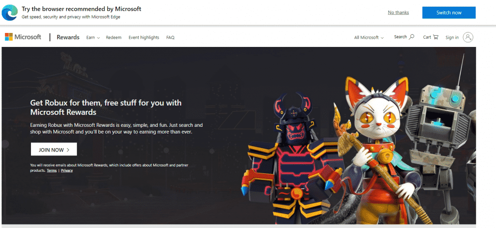 Microsoft Rewards for Roblox