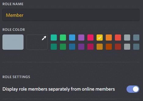Role Name Custom Color option