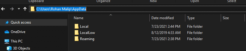 select the Discord folder
