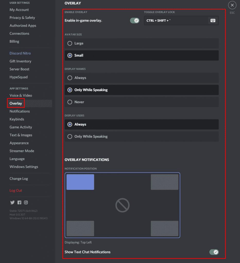 discord overlay settings